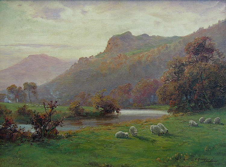 C. Goddard Sheep by River; Sheep by Mountain Stream