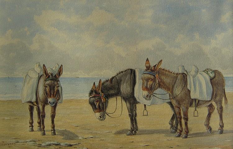 Edward Garraway Donkeys Waiting on Beach; Donkeys Tethered on Beach