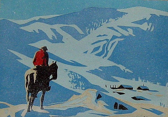 Peter Ewart Rider Looking Down on Cabins; Rider at Cabin at Night