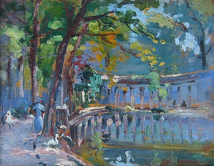 Dallemagne, French oil, le parc Monceau