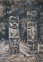 Bradshaw, Canadian oil, west coast totem poles, Nell Mary Bradshaw, Click for value