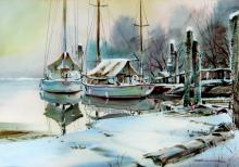 Marke Simmons - Saliboats Moored under Winter Snow