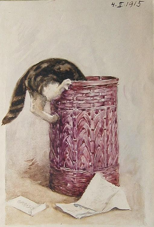 Carl Froschl, Austrian, Watercolour, Cat in Basket