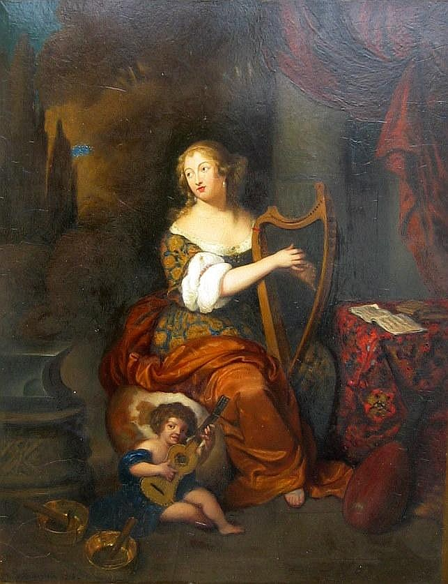 Ferdinand Grebestein, German, Oil, Woman with Harp