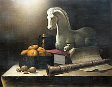 Victor Santos Still Life with Clarinet and Horse Statue