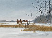 Allan Robert Thompson Three Horses in Winter