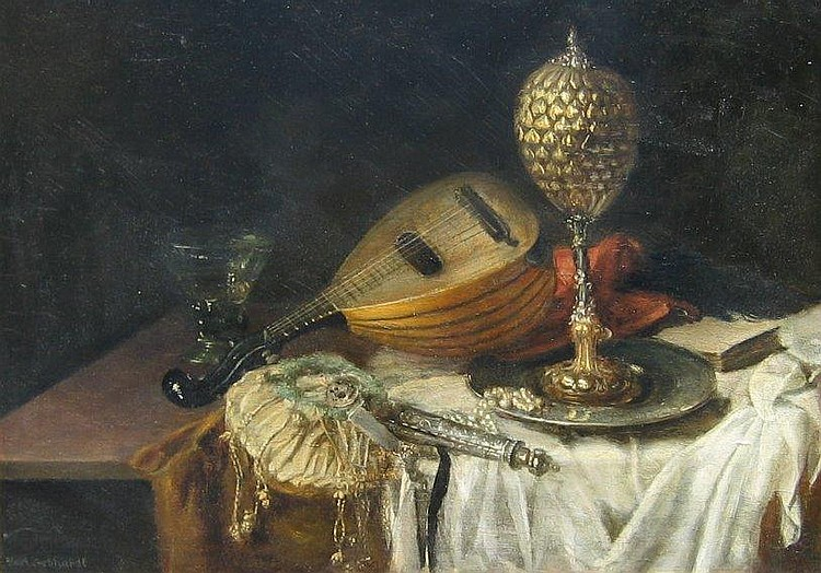 Gebhardt, German, oil, still life with mandolin
