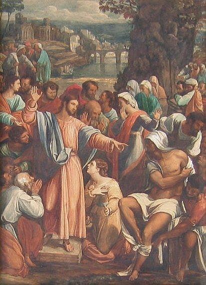 Italian School, watercolour, Christ healing