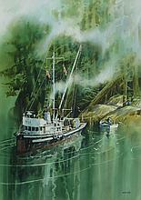 Harry Heine Fishing Boat in Wooded Cove