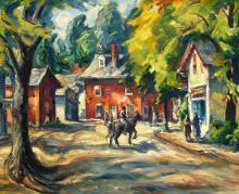 Donald Fraser Horse & Rider in Village Street