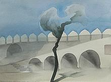 Toni Onley Junagarh Fort, Bikaner, India, December 19, 1982  (from the Walls of India series)