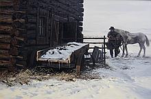 Harold Lyon Unsaddling in Winter Farm Landscape