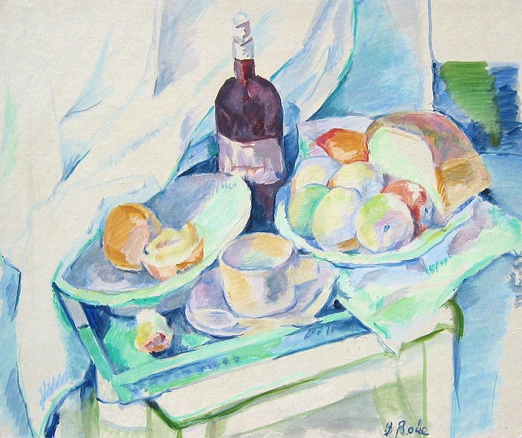 Rodé Still Life with Wine Bottle, Bread  &  Fruit