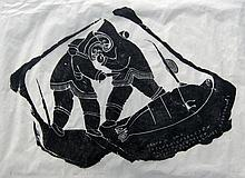 Juanisialuk Irqumia Two Inuit Men Fighting Over a Kill