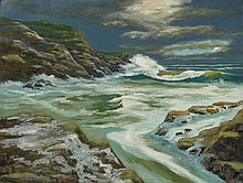 Robert Arsenault Waves Crashing on Rocks