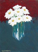 David J. Edwards White Daisies in a Glass Vase