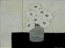 David J. Edwards Daisies in a Grey Vase