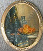 Barrier French oil still life vase, Gustave Barrier, Click for value