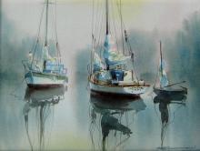 Marke Simmon - Sailboats at Anchor