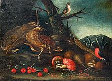 Giacomo Cardellino Still Life with Birds, Mushrooms & Berries