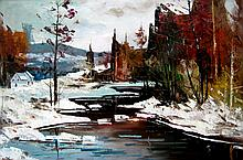 Geza/Gordon Marich Cabin in Winter River Landscape