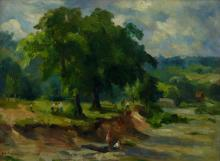 Donald Fraser People along a Tree-Lined River Bank