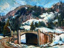 Donald Fraser Bridge in a Snowy Mountain Landscape