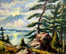 Donald Fraser Sun Bursting over Island Landscape