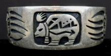 VINTAGE STERLING SILVER CUFF BRACELET BEAR AND BEAR CLAWS ENGRAVING - MARKED STERLING AND MARKED WITH ANIMAL/INSECT MARKING WEIGHS 54 GRAMS