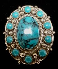 VINTAGE NICKEL SILVER AND COSTUME TURQUOISE  BOLO CLIP - MARKED NICKEL SILVER BEIL ON BACK
