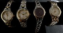 VINTAGE LOT OF 4 WATCHES - 3 FOSSIL BRAND WATCHES AND ONE PULSAR - ALL SILVER TONE WATCHES - WILL NEED BATTERIES