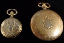 VINTAGE LOT OF 2 POCKET WATCHES - MAJESTRON AND COLIBRI BRAND - ONE SMALL 1