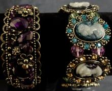 VINTAGE LOT OF TWO CUFF BRACELETS - MULTI COLORED CAMEO STRETCH BRACELET AND THE OTHER IMITATION AMETHYST VICTORIAN STYLE CUFF BRACELET