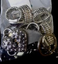 SMALL GRAB BAG OF MISC.  RINGS AND KEYCHAINS ALL SILVER TONE WEIGHS 4 OZ