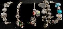 SMALL GRAB BAG OF MIXED LOT OF BRACELETS AND CHARMS WEIGHS 6.6 OZ
