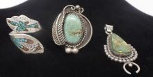 VINTAGE LOT OF 3 STERLING SILVER AND TURQUOISE RINGS AND NECKLACE PENDANT - PENDANT SIGNED BY FRANCIS (WEIGHS: 22 GRAMS)