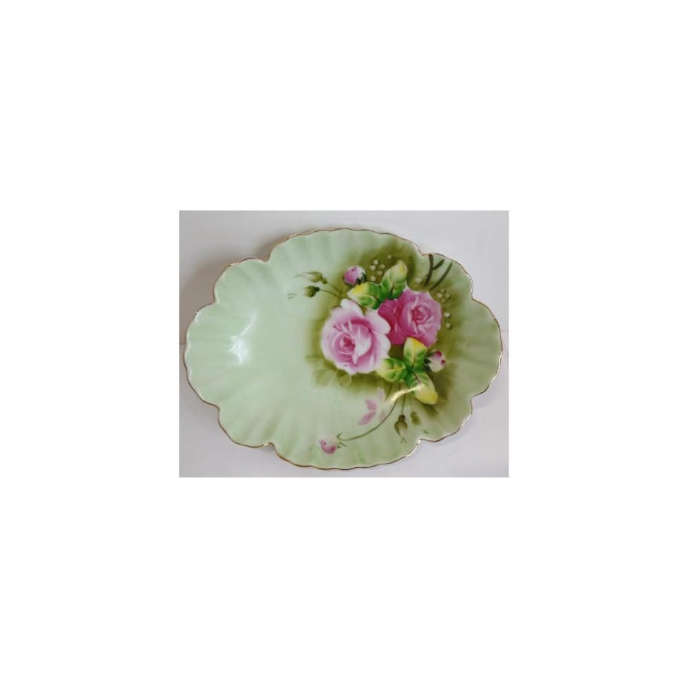 Vintage Ornate Floral Design Dish Hand Painted China Bowl