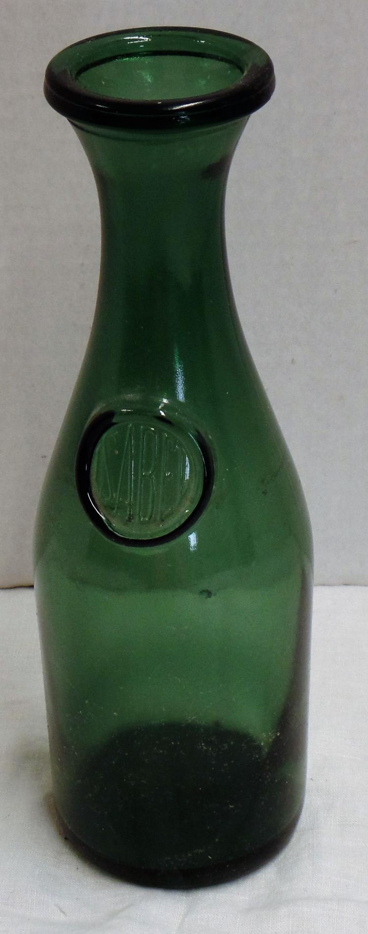 Vintage green glass isabel wine bottle decanter great for for Green glass wine bottles