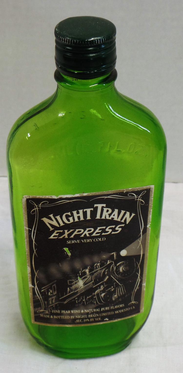 Vintage night train express wine bottle green glass for Green wine bottles