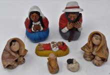 Lot Of Peruvian And Native American Figurines Depicting Nativity Scene