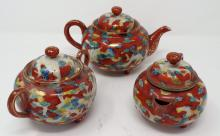 Vintage Oriental Style Tea Set - Tea Pot, Creamer & Sugar Bowl - Tea Set Measures 3