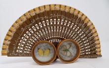 Lot Of 3 Asian Collectibles Including Fan And Butterfly Coasters