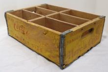 Vintage Coca-Cola Family Size Soda Bottle Crate - Glenwood Springs CO - Vintage Yellow And Red Color