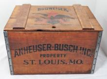 Antique Anheuser-Busch Inc, Beer Crate With Hinged Lid - Measures 12