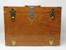 Vintage Wooden Storage Carry Case - Hinged Locking Lid and Front Face Opening Divided Inside Storage Area - Measures 11