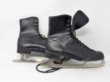 Vintage Set Of Black Ice Skates Marked Sheffield Steel Canada Tempered & Hardened