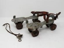 Vintage Pair Of Heavy Galvanized Metal Adjustable Roller Skates With Leather Straps And Metal Wheels - Item Shows Wear Consistent With Age And Use