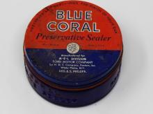 Vintage Blue Coral Preservative Sealer Empty Glass Jar - Great Collectors Item Includes Original Preservative Smell