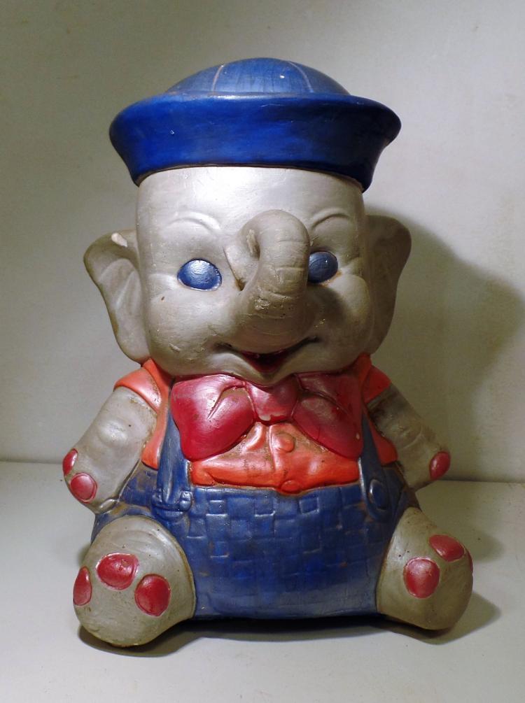 Vintage elephant dumbo likeness ceramic piggy bank measu - Ceramic elephant piggy bank ...