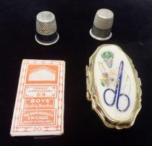 Vintage Sewing Kit With Extra Needles and (2) Silver Toned Thimbles - See Photos For Details